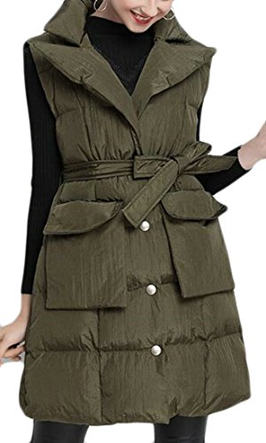 Army Solid today Belt Jacket Puffer Lapel Womens Down Long Green UK Sleeveless Vest With wFgF7qAB