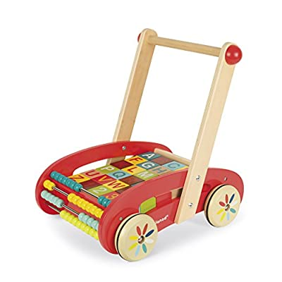 Janod ABC Walking Trolley with Blocks: Toys & Games