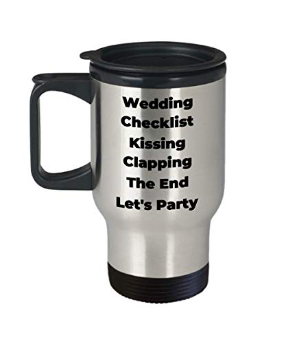 Wedding Checklist Coffee Mug Kissing Clapping The End Let's Party Gifts Idea For Engagement Maid of Honor Bride Bridal Shower Groom Bachelorette Bachelor Married Fiancee Travel Coffee Tea Cup Couple Kissing Cups Tea Favors