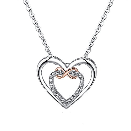 Isijie Jewelry Love Heart Infinity Two-Tone Pendant Necklace Gifts Womens by Isijie Jewelry