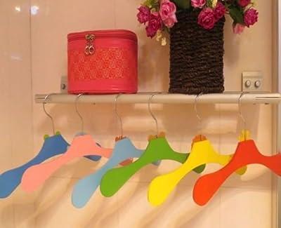 10pcs Mixed Color Kids Coat Trouser Wardrobe Clothes Wood Hangers Findings