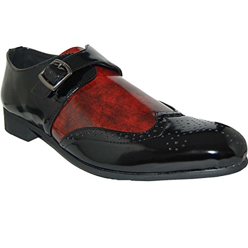 KRAZY SHOE ARTISTS Sexy Red Black Wingtip Slip On Shoes -Size (Sexy Wingtip Shoes)