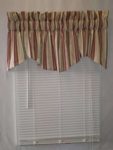 Kimberly Stripe Collection (Burgandy, 70Wx17L Lined Windsor (Windsor Valance)