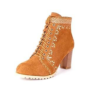 Botines para mujer, botines de tobillo bordados por el viento nacional nuevos de cuero de otoño / invierno, botas de moda de tacón grueso ...