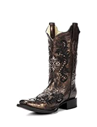 Corral Women's Embroidery And Studs Square Toe Western Boots