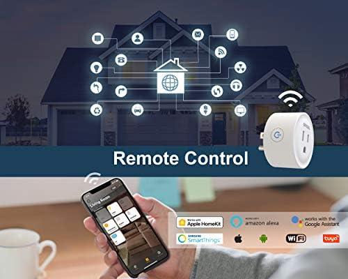Smart Plug Homekit,Support Apple HomeKit+Siri+Homepod+iPad+Apple TV+MAC,Amazon Alexa,Google Assistant,Tuya Smart,SmartThings & App Remote Control,Timer & Scheduled,No Hub Needed