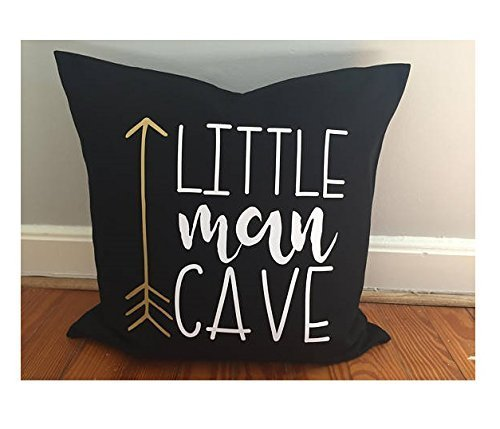 Gold and Black Little Man Pillow Cover, 16x16 in pillow cover, bow and arrow, hunting boy room, hunter theme, Rustic nursery boy room décor, Christmas Gift