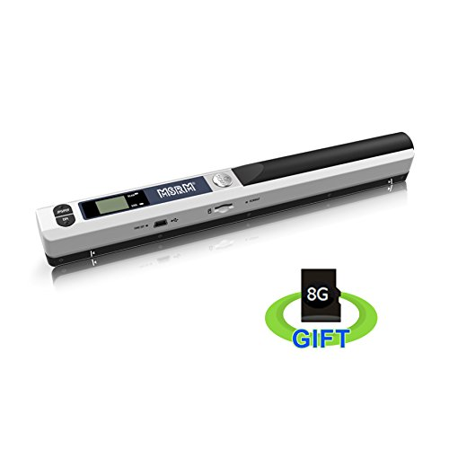 MSRM Color Mobile Document Scanner Image Portable Scanner Business Card Handheld Scanner High Definition with 8G Micro SD Card Silver
