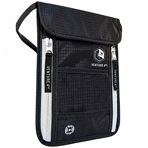 Venture 4th Passport Holder Neck Pouch With RFID Blocking - Concealed Passport Wallet (Black)