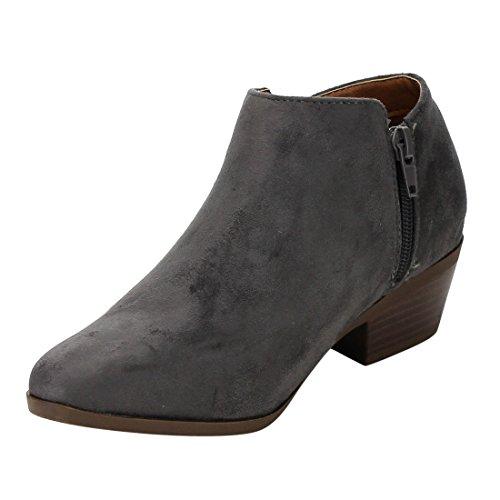 Bella Marie AE47 Damen Seitliche Reißverschluss Stacked Block Heel Ankle Booties Grau