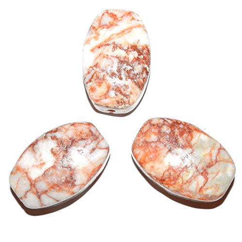 Flat Curved Barrel Focal Pendant Bead 1pc Unique Redline Marble 45mm AG01 ()