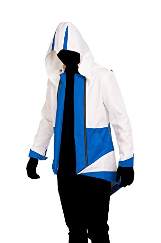 iFigure Cosplay Costume Hoodie Jacket for Adult and Child White& Blue ()