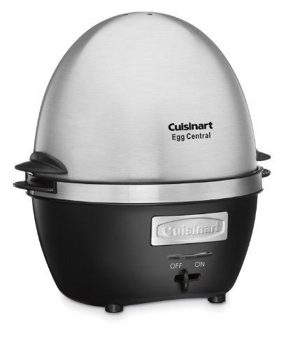 Cuisinart CEC-10 Egg Central Egg Cooker 4 Cooks 10 eggs in shells to a hard, medium or soft consistency with the 600-watt heater Poaching tray with 4-egg capacity and omelet tray with 3-egg capacity Brushed stainless steel lid; blue LED indicator, audible alert and standby mode