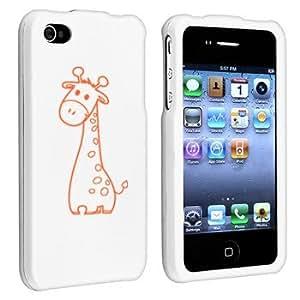 Apple iPhone 4 4S White Rubber Hard Case Snap on 2 piece Orange Cute Giraffe