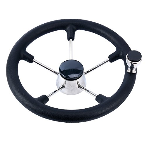 Price comparison product image Amarine-made 13-1 / 2 Inch Boat Marine 5 Spoke Destroyer Steering Wheel with Black Foam Grip and Knob