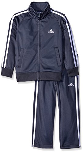 adidas Little Boys' Iconic Tricot Jacket and Pant Set, Grey, 6 - Embroidered Activewear Pant Set