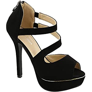 Top Moda Melody-1 Women's Dressy High Heel Sandals (7.5, Black)