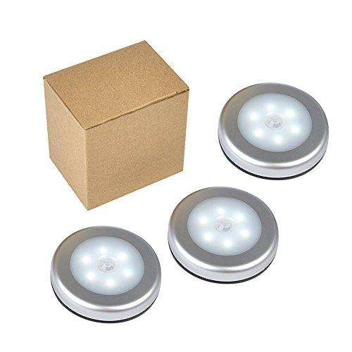 Motion Sensor Light, Stick-Anywhere Cordless Battery-Powered LED Night Light, Closet Lights,Stair Lights, Tap Lights, Safe Lights for Hallway, Bathroom, Bedroom, Kitchen (White - Pack of 3) by YINGLI SOLAR (Image #1)