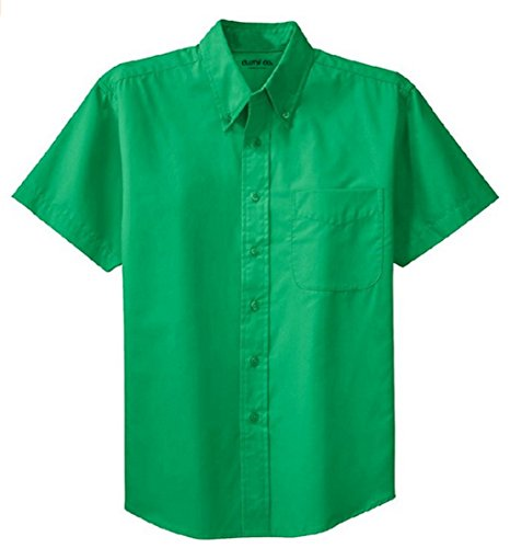Green Mens Shirt - Clothe Co. Mens Short Sleeve Wrinkle Resistant Easy Care Button Up Shirt, Court Green, L