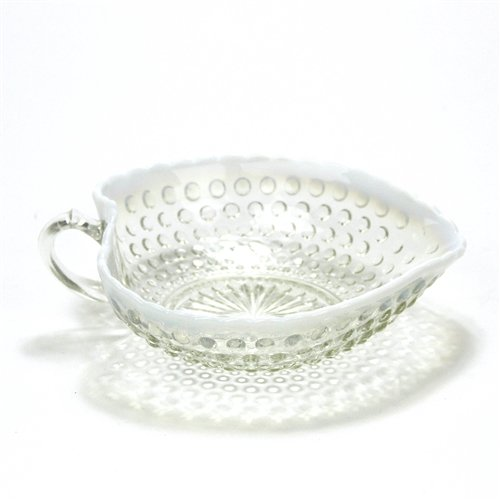 Hobnail French Opalescent by Fenton, Glass Relish Dish, Heart Shaped