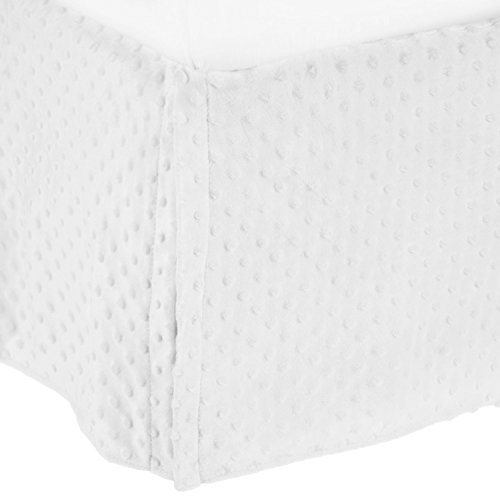 American Baby Company Heavenly Soft Minky Dot Tailored Crib Skirt, White, for Boys and Girls