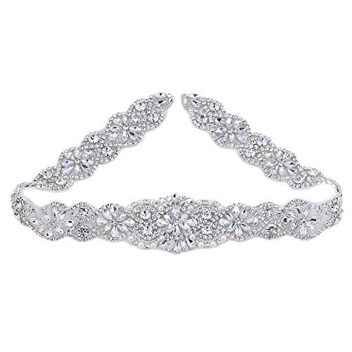 Crystal Rhinestone Appliques with Stain Ribbons Sewn on or Hot Fix for DIY Dress Belts, Headbands, Headpieces, Neckline, Garters, Shoes, Bags - Silver (Beaded Belt Silk)
