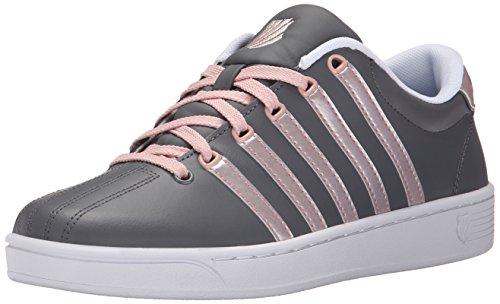 K-Swiss Women's Court Pro II CMF Metallic Athletic Shoe, Charcoal/Silver Pink, 7.5 M US