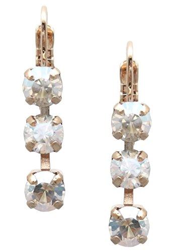 Mariana Swarovski Rose Goldtone 3 Stone Crystal Moonlight Linear Earrings 001MOL (Mariana Crystal)