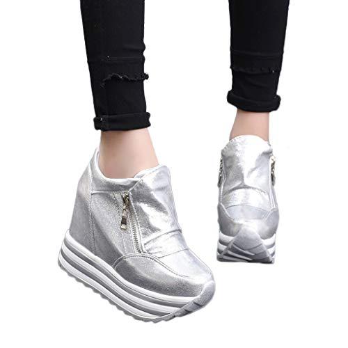 Valentine Wedge - Sharemen Women's Wedge Shoes PU Side Zipper Sports Shoes Non-Slip Comfortable Walking Shoes(White,US:5)