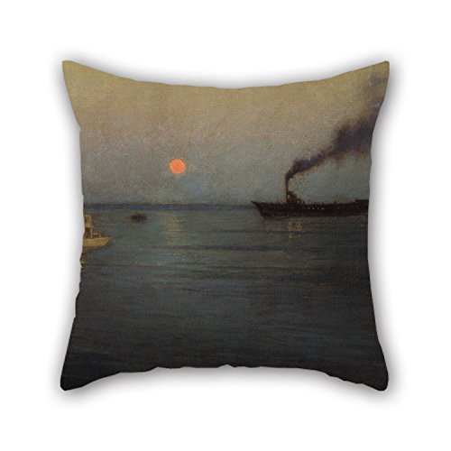 The Oil Painting L. Birge Harrison - Rosy Moon Off Charleston Harbor Pillow Shams Of ,18 X 18 Inch / 45 By 45 Cm Decoration,gift For Adults,son,living Room,gril Friend,bedroom,him (twin Sides) Charleston Sectional