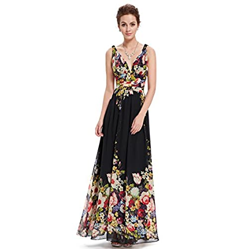 Ever-Pretty Womens Empire Waist V Neck Summer Dress 16 US Black Printed