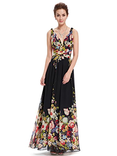 Ever-Pretty Womens Double V Neck Ruched Printed Maxi Party Dress 14 US Black - Gown Printed Chiffon