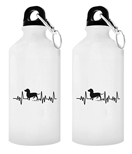 ThisWear Dachshund Mug Dog Lover Heartbeat Dachshund Rescue Gift Dachshund Puppy Gift 2-Pack 20-oz Aluminum Water Bottles with Carabiner Clip Top White