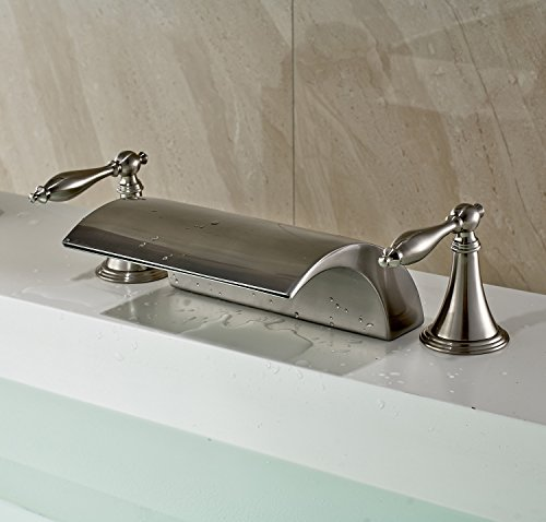 Rozin Deck Mounted 3 Holes Waterfall Spout Tub Filler Faucet Double Handles Mixer Tap Brushed Nickel Finish