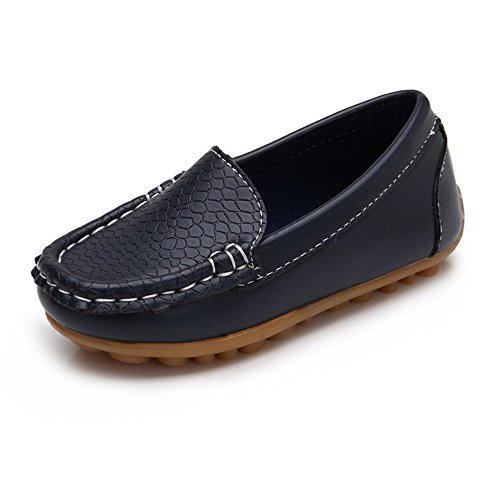 SOFMUO Boys Girls Leather Loafers Slip-On Oxford Flats Boat Dress Schooling Daily Walking Shoes(Toddler/Little Kids) Navy,21 (Best Shoes With Navy Suit)