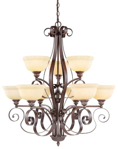 Livex Lighting 6159-58 Manchester 9 Light Two Tier (6+3) Imperial Bronze Chandelier with Vintage Alabaster Glass