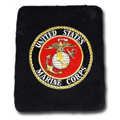 "Black USMC Marines Marine Corps Flag King/Queen Mink Throw Blanket (80"" x 96"") by RFCO"
