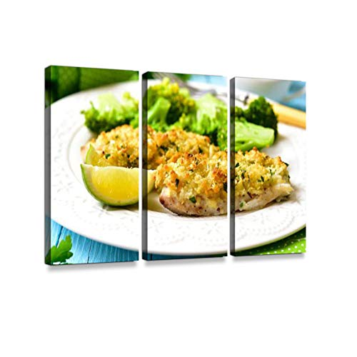 Cod Baked with Garlic Bread Crumbs.3 Pieces Print On Canvas Wall Artwork Modern Photography Home Decor Unique Pattern Stretched and Framed 3 Piece