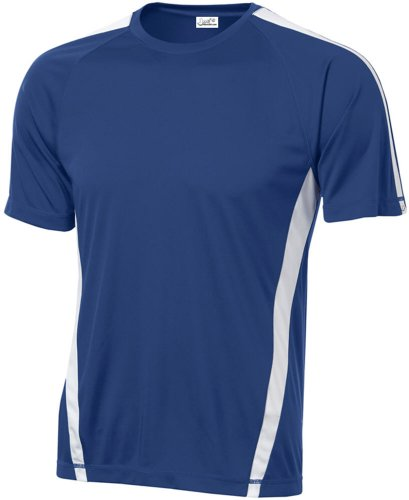Mens Dri Fit Performance Shorts - Joe's USA Men's Athletic All Sport Training T-Shirt ,True Royal/ White ,Large