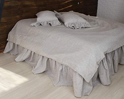 Romantic Pure Linen Bed Skirt with Ruffles - Natural, White, Grey, Pink, Blue Colors ()