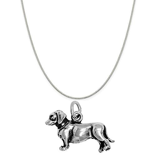 (Raposa Elegance Sterling Silver 3D Dachshund Charm on a Sterling Silver 20