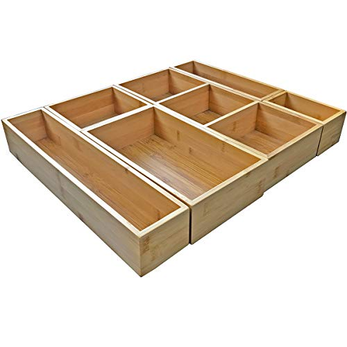 Bamboo Drawer Organizer and 6 Storage Box Dividers Set,8 Compartment Organization Tray Holder for Craft,Sewing,Office,Bathroom.Kitchen
