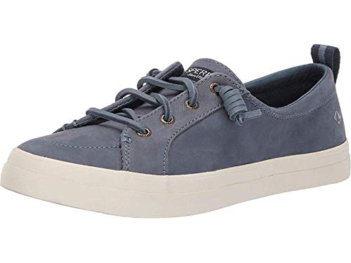 Top Sider Leather Sperry Tie (SPERRY Women's Crest Vibe Washable Leather Sneaker, Slate Blue, 7)
