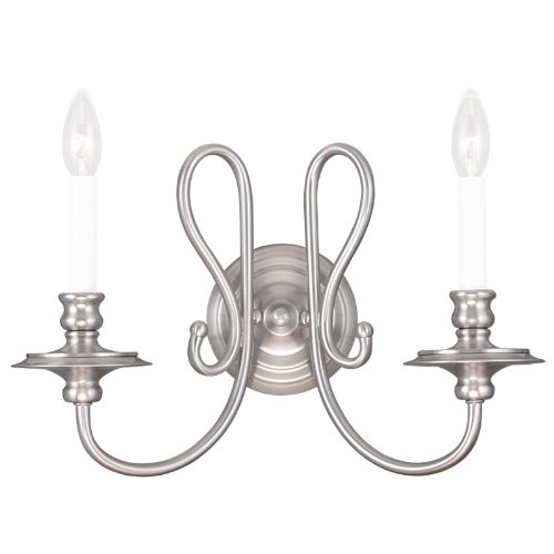 Livex Lighting 5162-91 Caldwell 2-Light Wall Sconce, Brushed Nickel