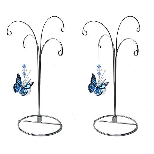Glass Terrariums Etc. Pack of 3 Stands Creative Hobbies 10 Inch Tall Silver Chrome Wire Ornament Display Hanger Stands for Displaying Christmas Ornaments
