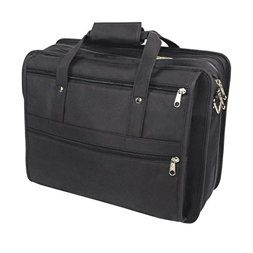 Black Contractor Briefcase Rubber-Backed Microfiber Material Lightweight