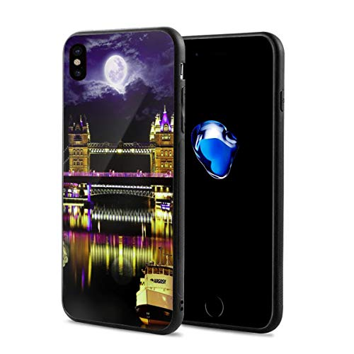 LeYue iPhone Xs/X Case, London Bridge Night Slim Fit Liquid Silicone Gel Rubber Shockproof Case Soft Cover Compatible with iPhone X/XS 5.8 Inch ()