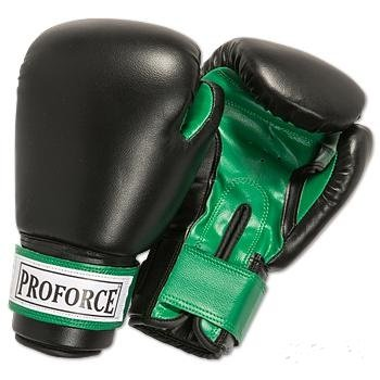 ProForce® Leatherette Boxing/Mixed Martial Arts/Karate Gloves - Black/Green (Proforce Leatherette Boxing Gloves)