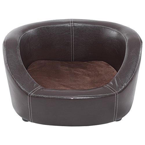 Giantex Pet Sofa PVC Lounge Snuggle Soft Warm Dog Puppy Sleeping Bed w/Cushion Brown by Giantex