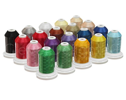 CleverDelights 20 Color Embroidery Machine Thread - Jumbo 1100Yd Spools - Premium 40wt Polyester Thread (Thread Color Chart)